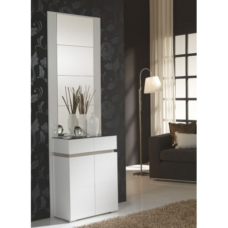 meuble d 39 entr e blanc ch ne clair miroirs eloe petits meubles. Black Bedroom Furniture Sets. Home Design Ideas