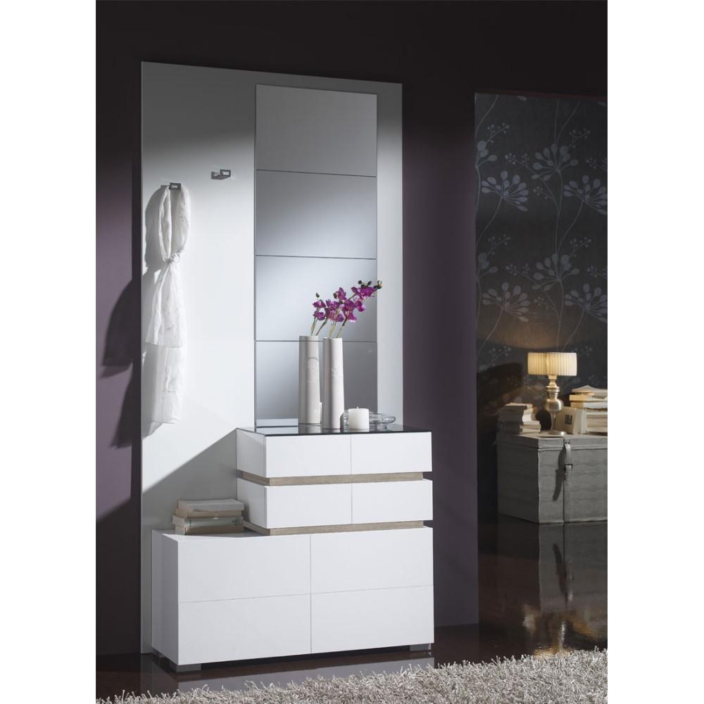 Meuble d'entrée Blanc/Chêne clair + miroirs - VANA