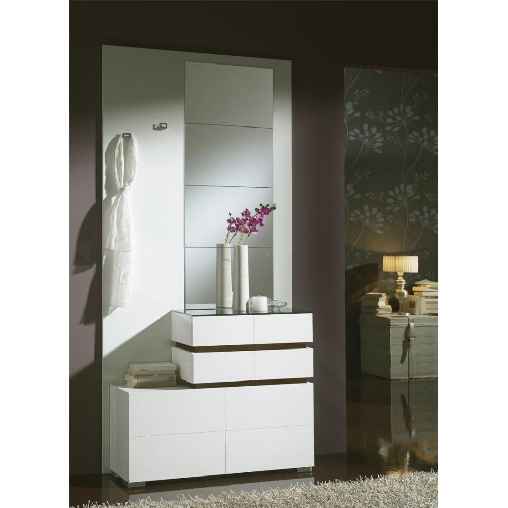 Meuble d'entrée Blanc/Chêne foncé + miroirs - VANA