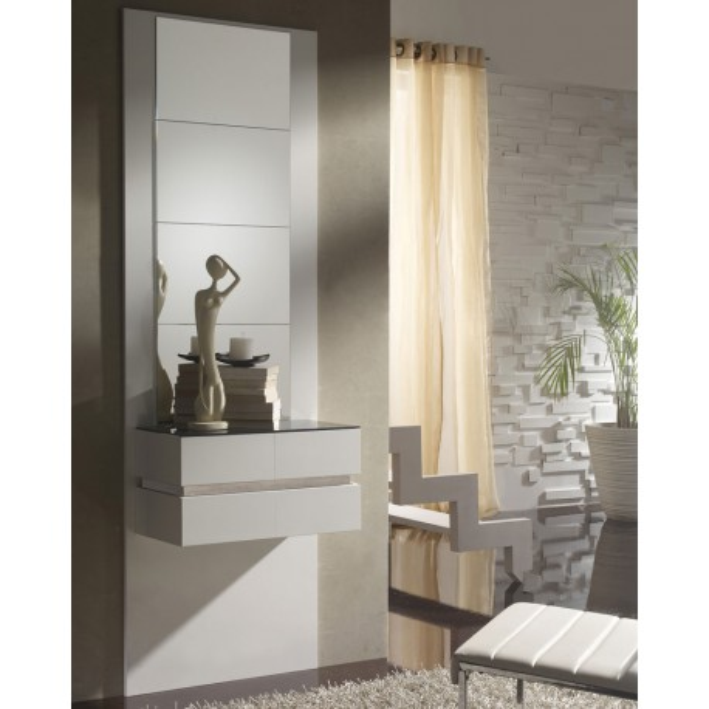 Meuble d'entrée Blanc/Chêne clair + miroirs - LOUMI