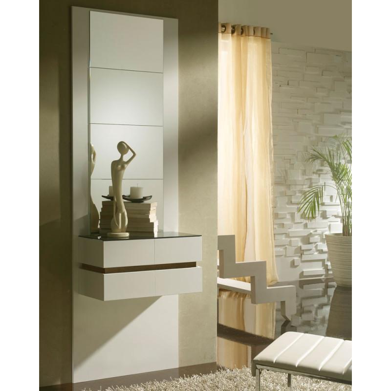 Meuble d'entrée Blanc/Chêne foncé + miroirs - LOUMI