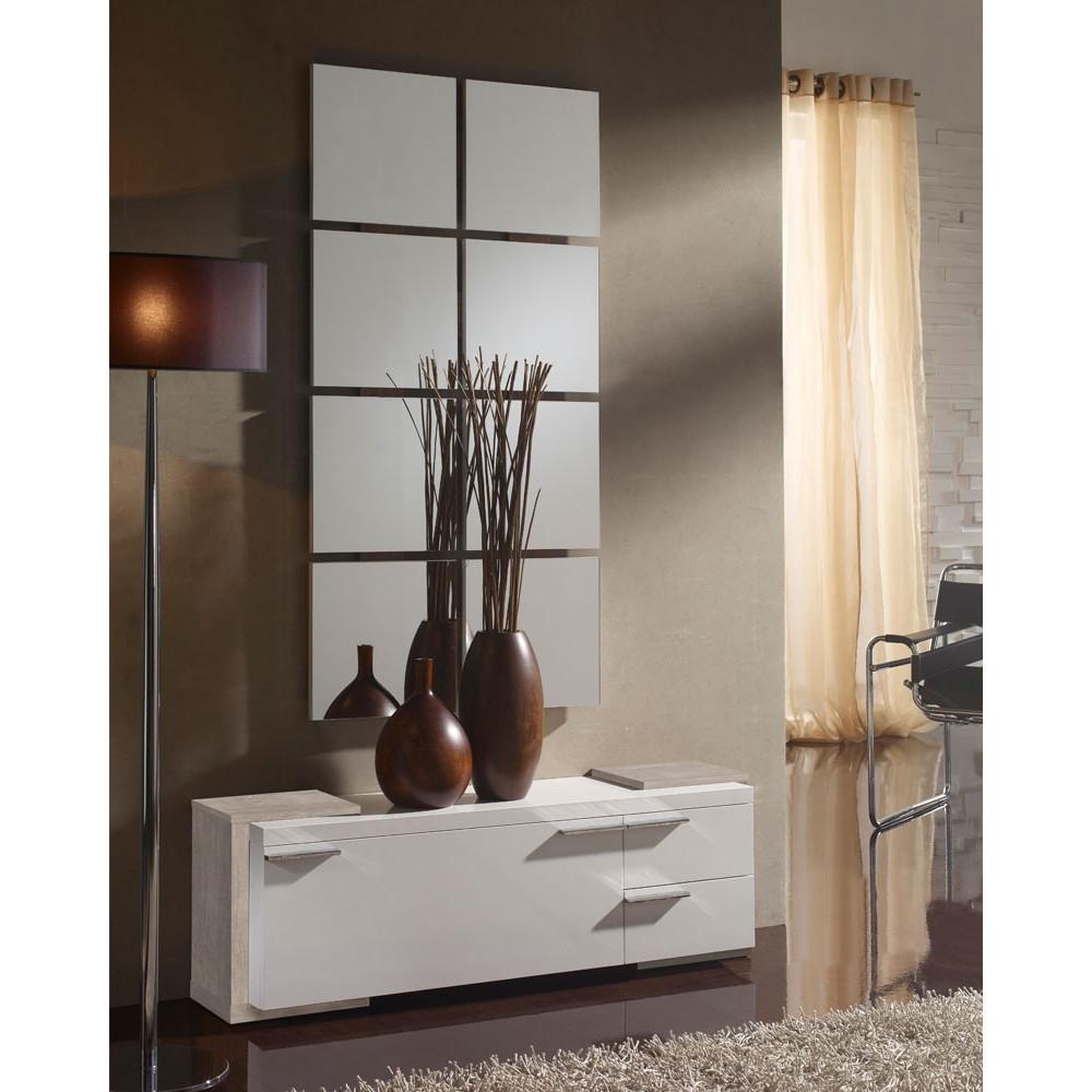 Meuble d'entrée Blanc/Chêne clair + miroir - TAMARA