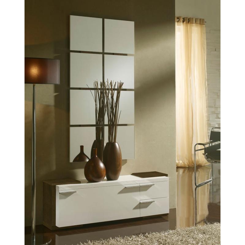 Meuble d'entrée Blanc/Chêne foncé + miroir - TAMARA