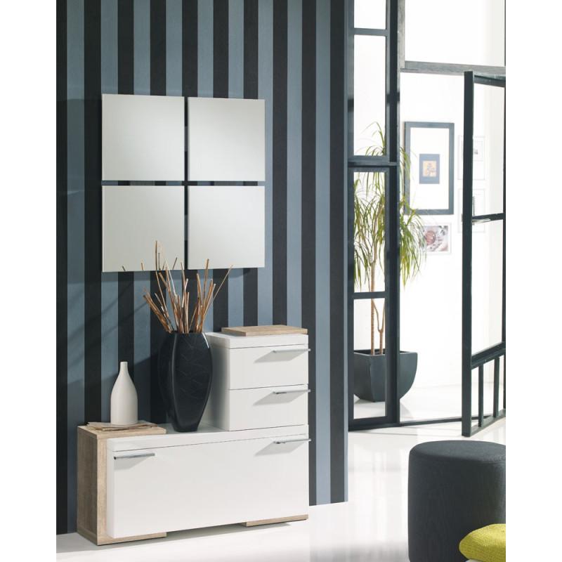 Meuble d'entrée Blanc/Chêne clair + miroirs - ROUSTINE