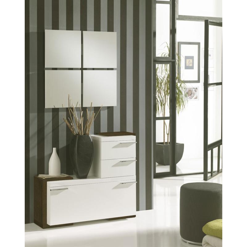 Meuble d'entrée Blanc/Chêne foncé + miroirs - ROUSTINE
