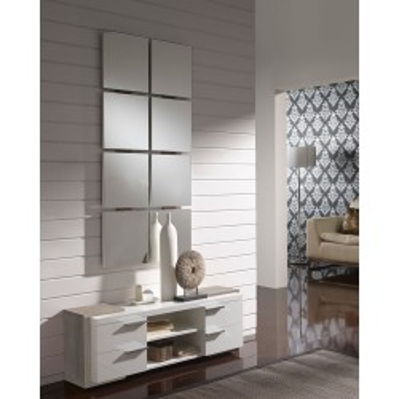 Meuble d'entrée Blanc/Chêne clair + miroir - NAVE