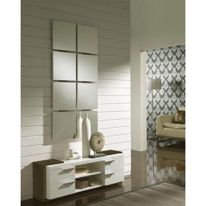 Meuble d'entrée Blanc/Chêne foncé + miroir - NAVE