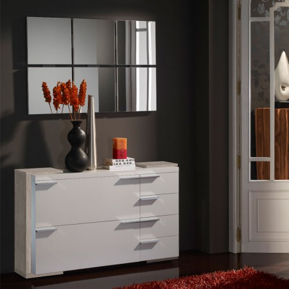 Meuble d'entrée Blanc/Chêne clair + miroirs - KIMISTIL