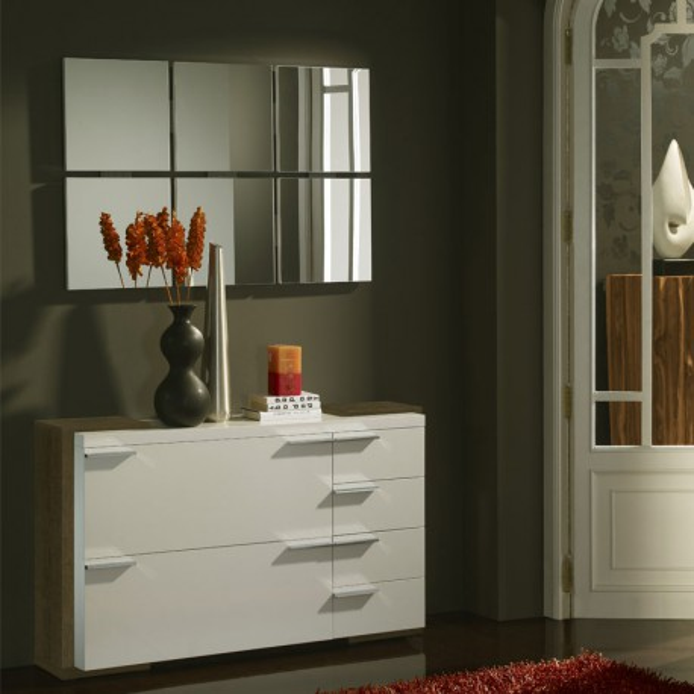 Meuble d'entrée Blanc/Chêne foncé + miroirs - KIMISTIL