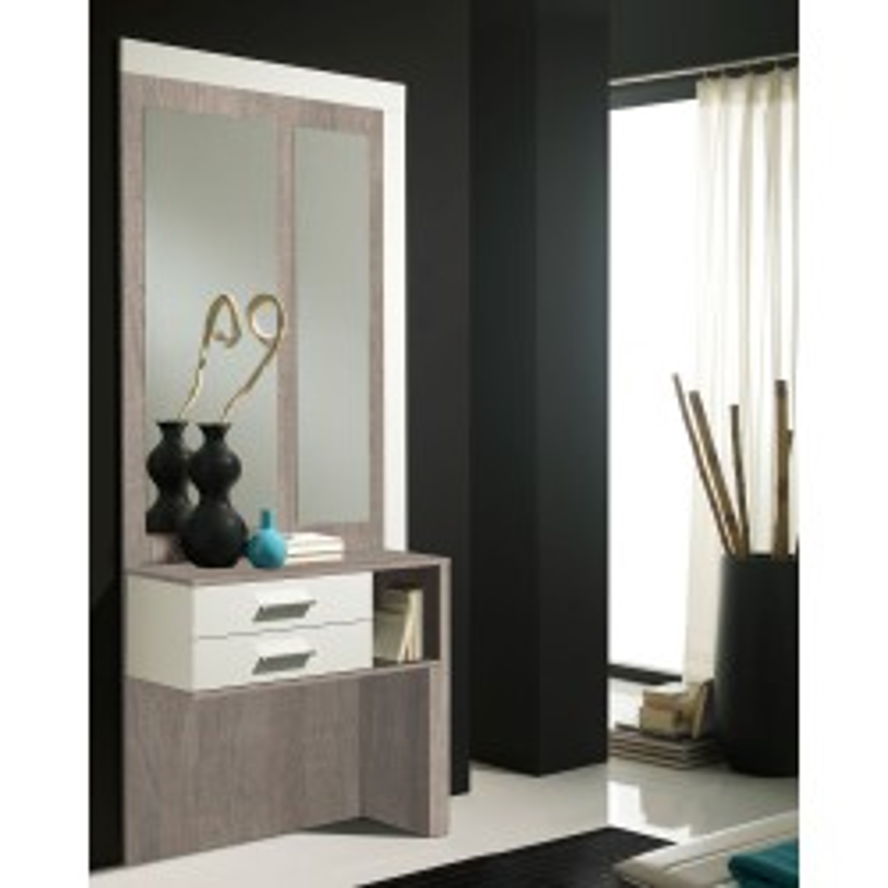 Meuble d'entrée Blanc/Chêne clair + miroirs - MOKENE