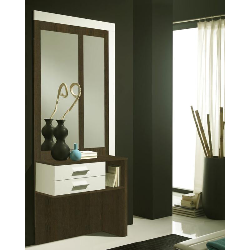 Meuble d'entrée Blanc/Chêne foncé + miroirs - MOKENE