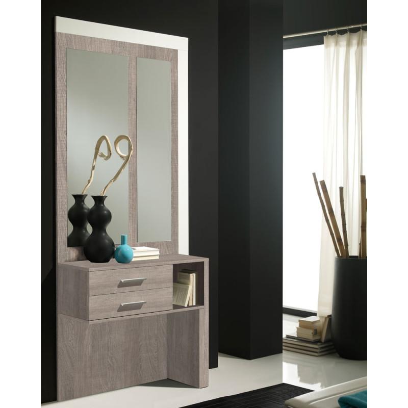 Meuble d'entrée Chêne clair + miroirs - MOKENE