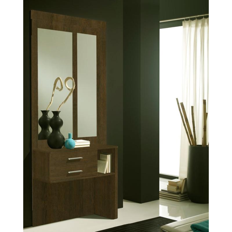 Meuble d'entrée Chêne foncé + miroirs - MOKENE
