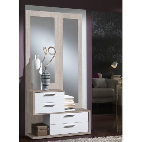 meuble d 39 entr e ch ne clair blanc miroirs rachou. Black Bedroom Furniture Sets. Home Design Ideas