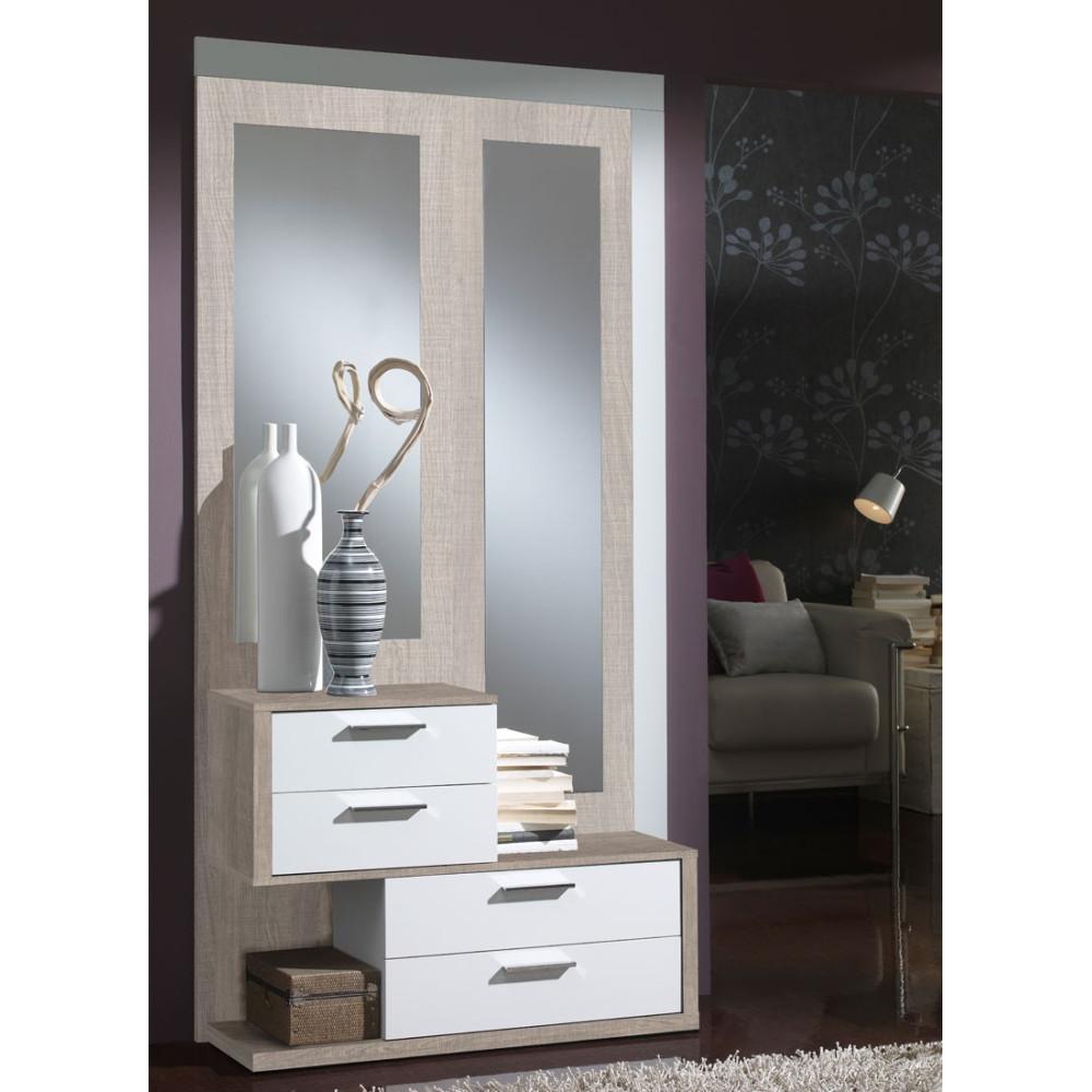 Meuble d'entrée Chêne clair/Blanc + miroirs - RACHOU