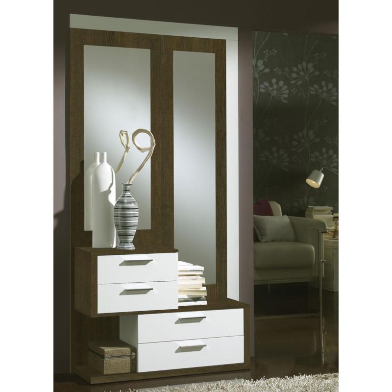 Meuble d'entrée Chêne Foncé/Blanc + miroirs - RACHOU