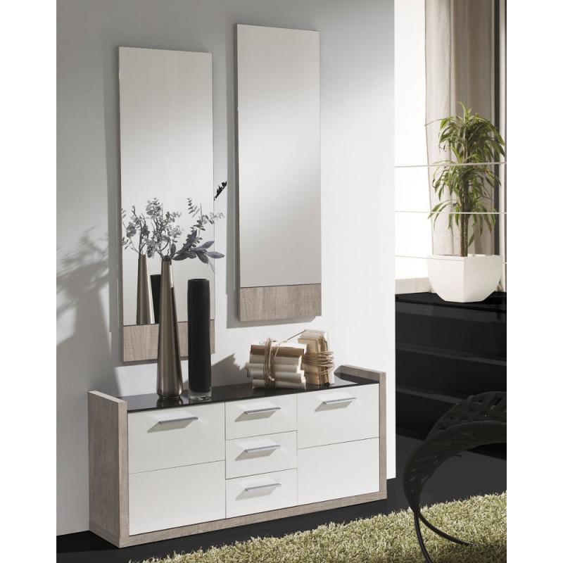 Meuble d'entrée Blanc/Chêne clair + miroirs - MILLESIME