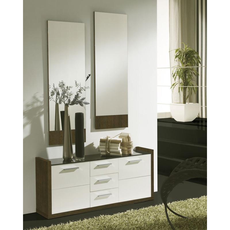 Meuble d'entrée Blanc/Chêne foncé + miroirs - MILLESIME