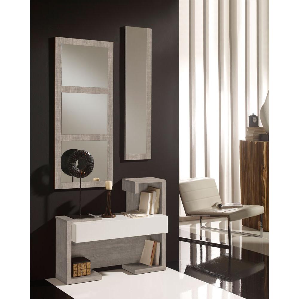Meuble d'entrée Chêne clair/Blanc + miroirs - PARIS