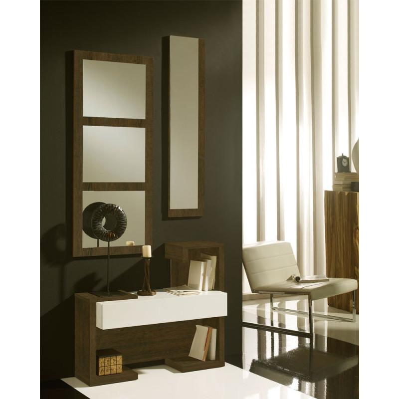 Meuble d'entrée Chêne foncé/Blanc + miroirs - PARIS