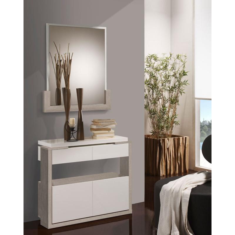 Meuble d'entrée Blanc/Chêne clair + miroir - JUNGO