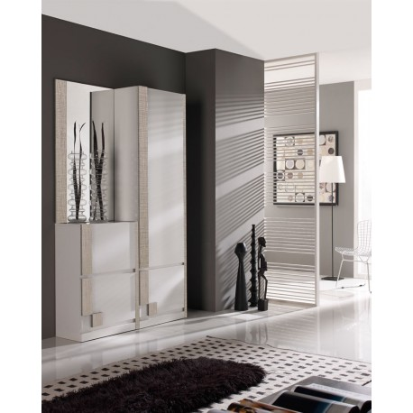 meuble d 39 entr e blanc ch ne clair miroir sliman petits. Black Bedroom Furniture Sets. Home Design Ideas