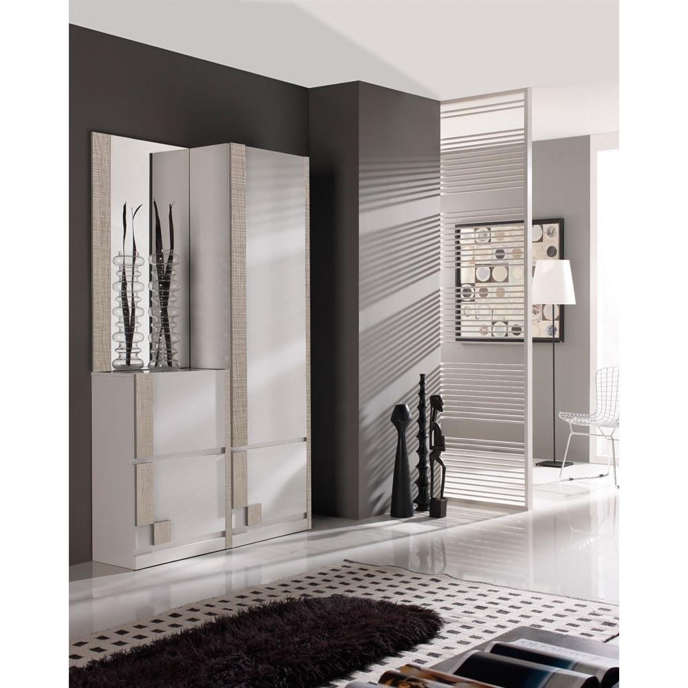 Meuble d'entrée Blanc/Chêne clair + armoire + miroir - SLIMAN