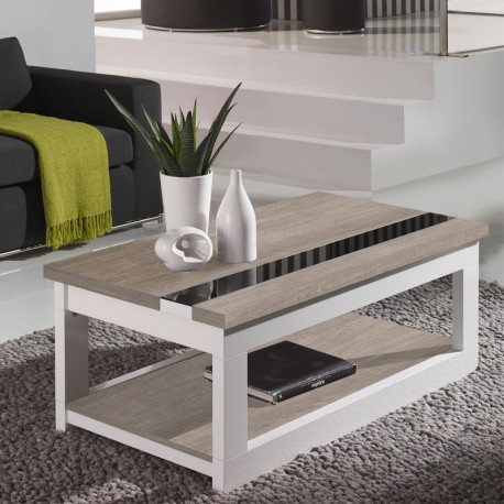 table basse relevable ch ne clair blanc upti univers du salon. Black Bedroom Furniture Sets. Home Design Ideas