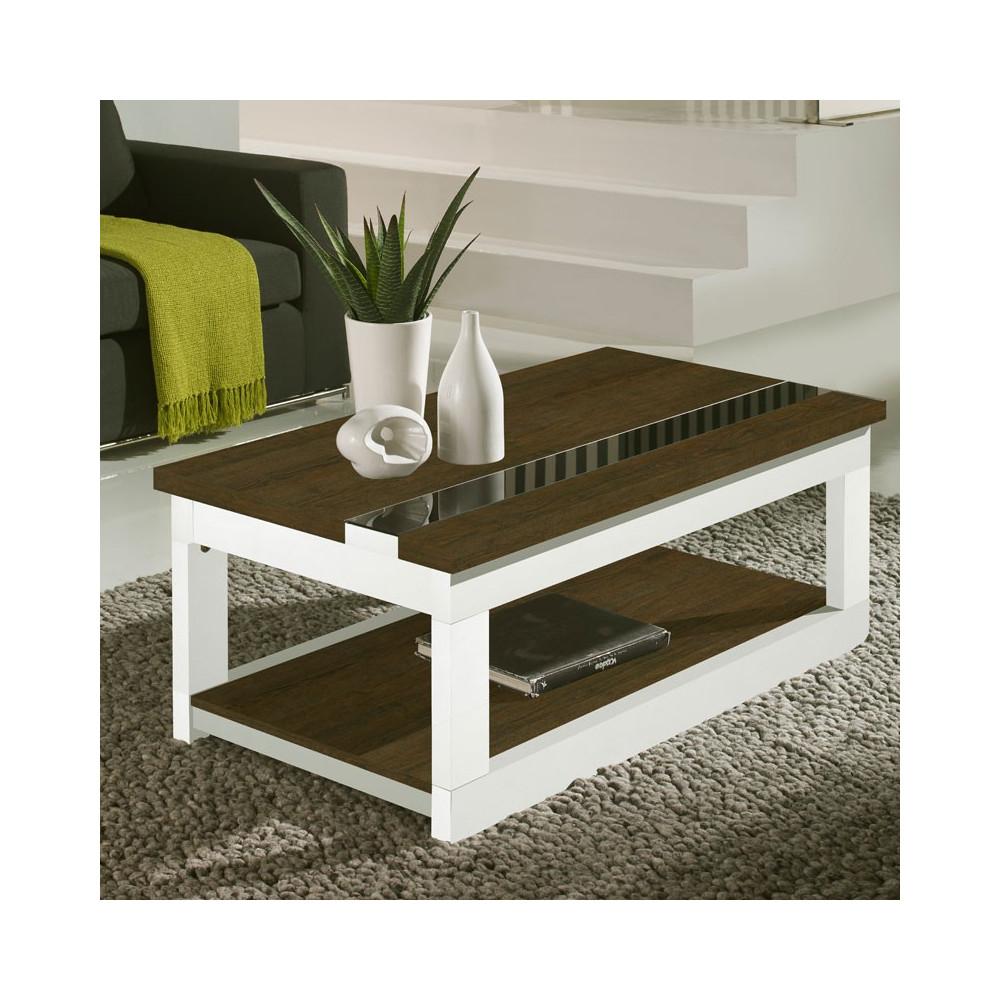 Table basse relevable Chêne foncé/Blanc - UPTI