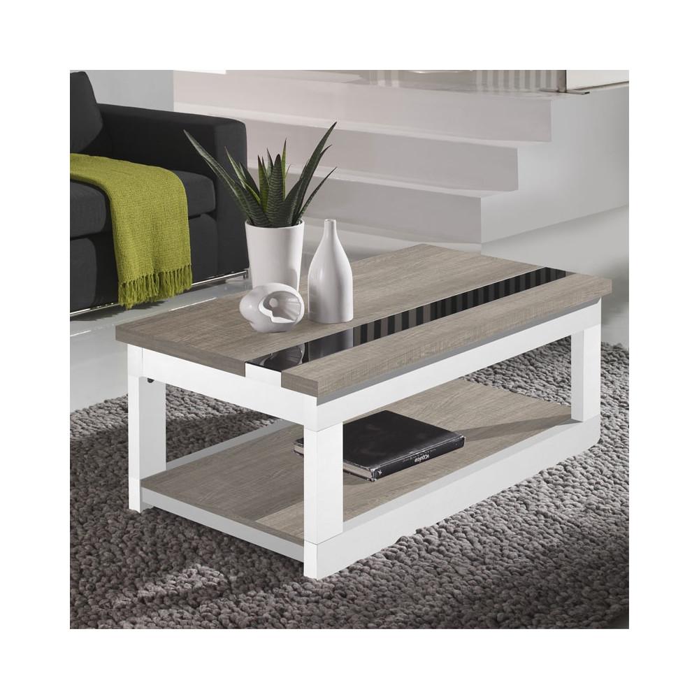 Table basse relevable Chêne clair/Bois Blanc - UPTI