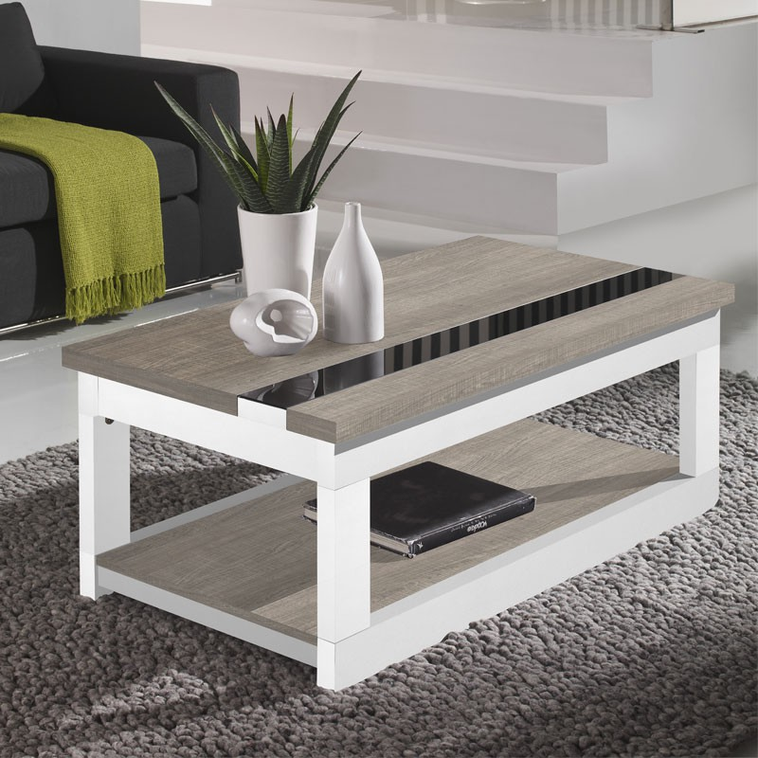 table basse relevable ch ne clair bois blanc upti. Black Bedroom Furniture Sets. Home Design Ideas