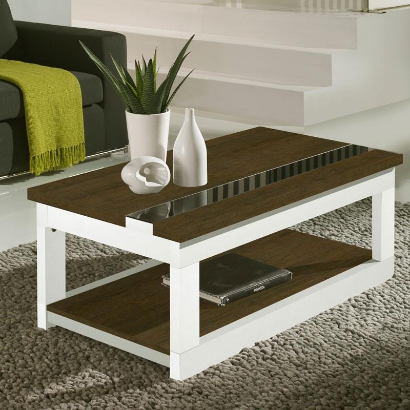 Table basse relevable Chêne foncé/Bois Blanc - UPTI