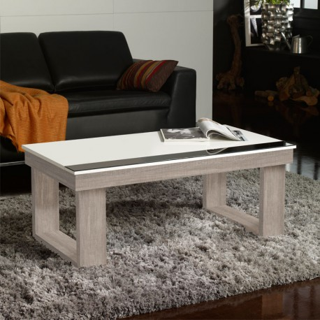 Table basse relevable Chêne clair/Blanc - UPTO