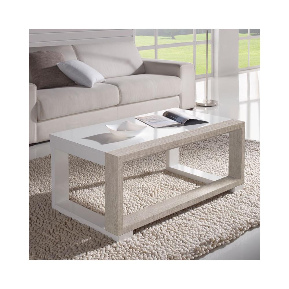 Table basse relevable Blanc/Chêne clair - UPTU