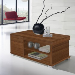 Table basse Noyer relevable 2 tiroirs - ESSA