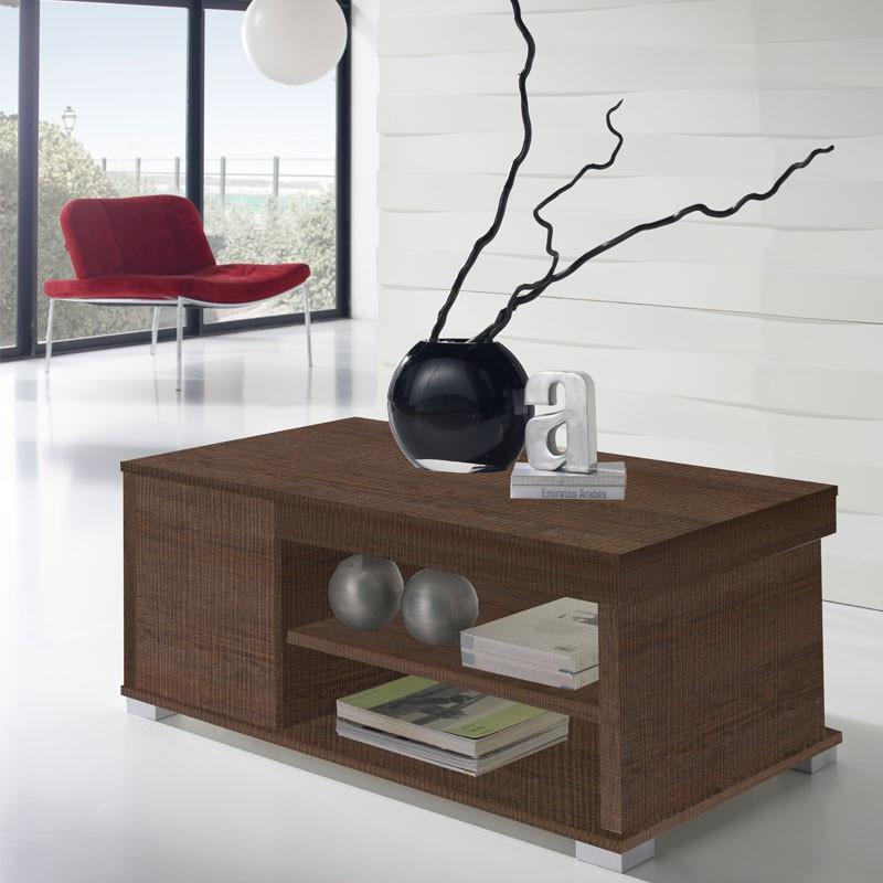 Table basse Chêne foncé relevable 2 tiroirs - ESSA