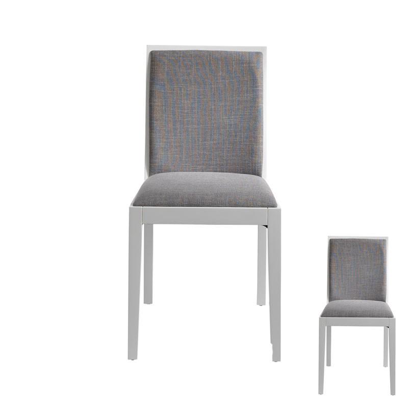 Duo de Chaises Gris/Blanc bois massif tissu moderne - Univers Salle à Manger et Assises : Tousmesmeubles