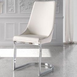 Chaise Simili Cuir Blanc - TABAL