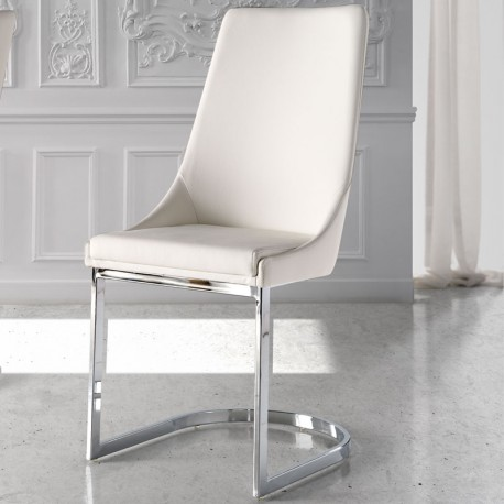 Chaise Simili Cuir Blanc Tabal Univers Salle A Manger Et Assises