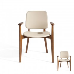 Duo de Chaises Simili Cuir Sable - WALNUT