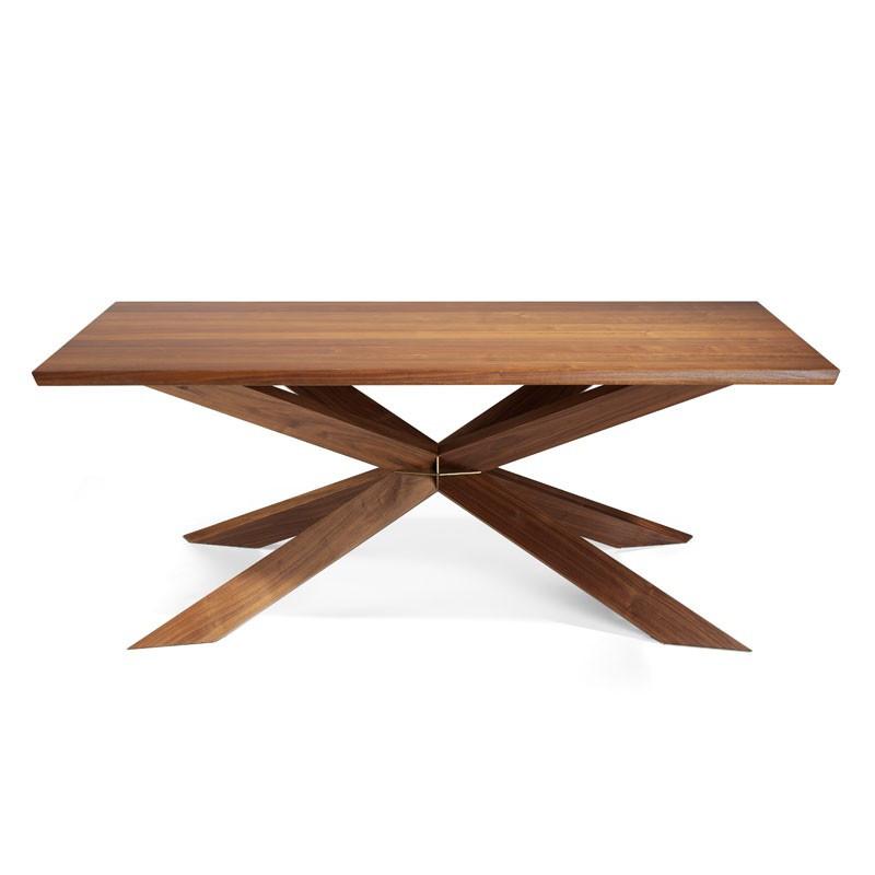 Table de repas design Bois massif noyer piétement croix - Univers Salle à Manger : Tousmesmeubles