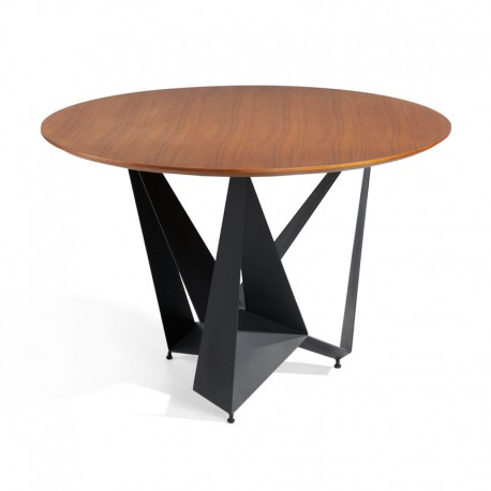 Table de repas ronde design plateau Bois noyer piétement Métal noir - Univers Salle à Manger : Tousmesmeubles