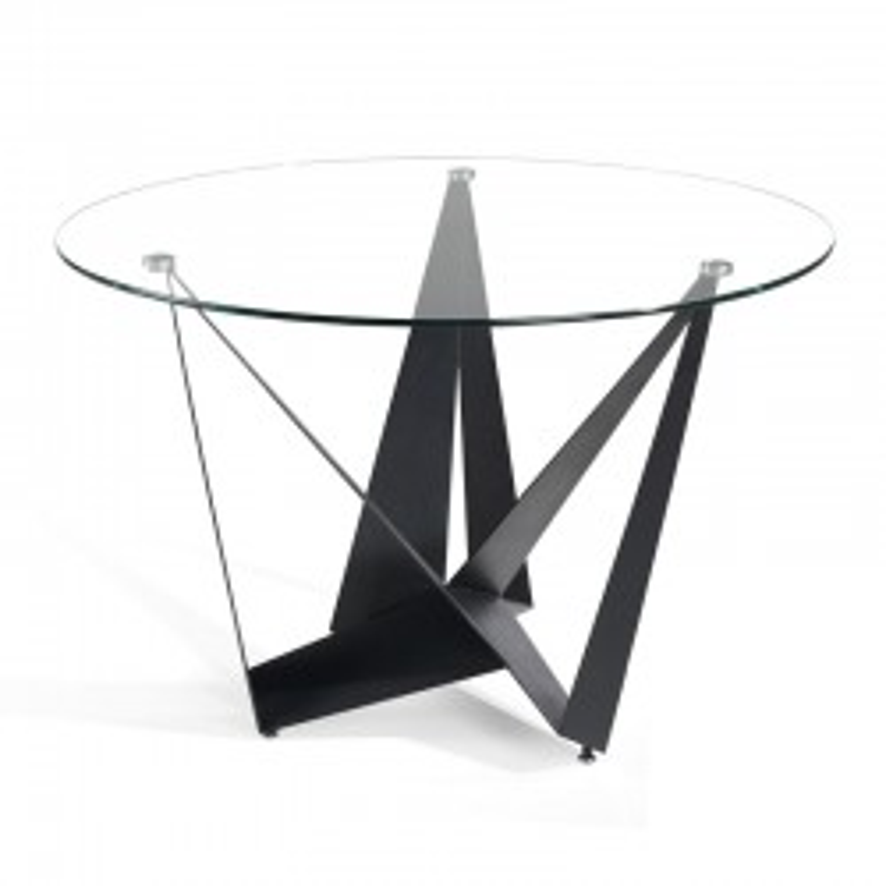 Table de repas ronde design plateau Verre pieds Métal noir - Univers Salle à Manger : Tousmesmeubles