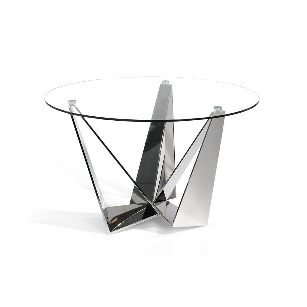 Table de repas ronde plateau Verre piétement acier design - Univers Salle à Manger : Tousmesmeubles