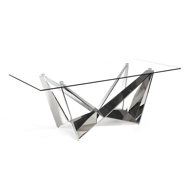 Table de repas rectangulaire design plateau Verre pied acier chromé - Univers Salle à Manger : Tousmesmeubles
