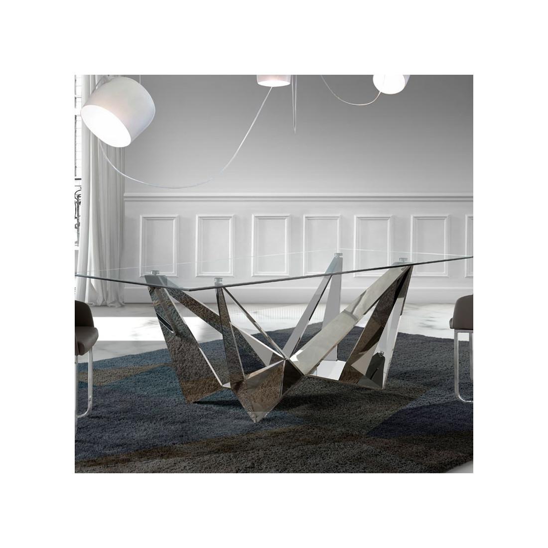 ... Table De Repas Rectangulaire Design Plateau Verre Pied Acier Chromé    Univers Salle à Manger :