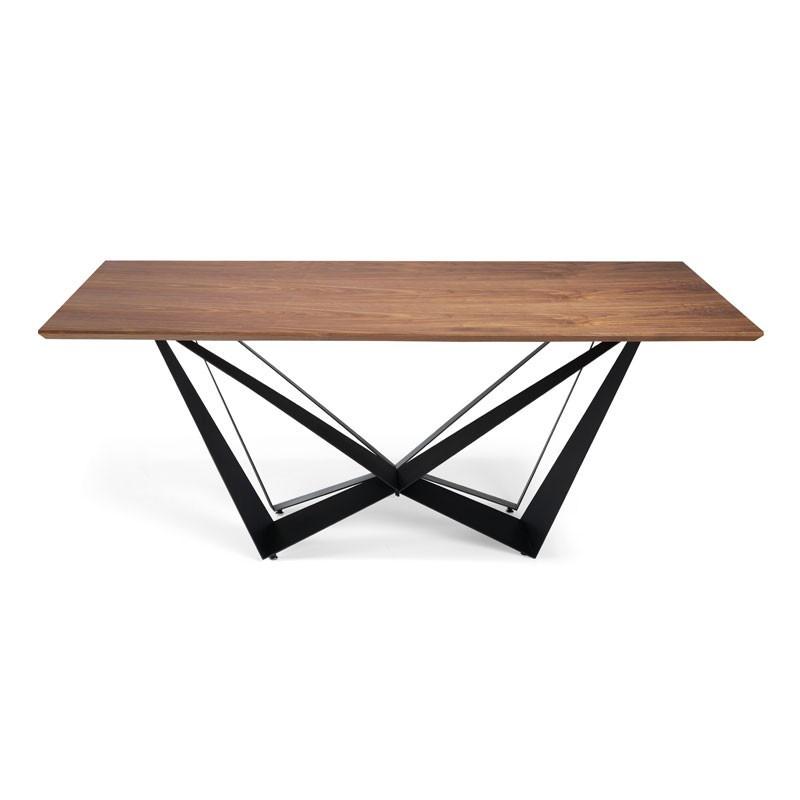 Table de repas rectangulaire Noyer/Noir mat - NOGU