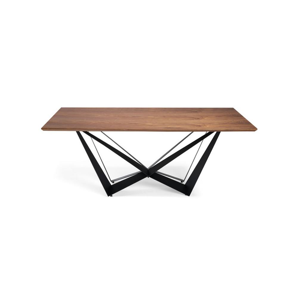 Table de repas plateau bois noyer piétement métal noir design - Univers Salle à Manger : Tousmesmeubles