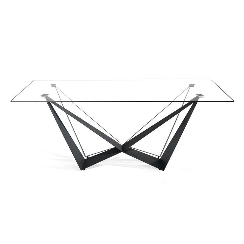 Table de repas rectangulaire Verre/Noir mat - NOGU