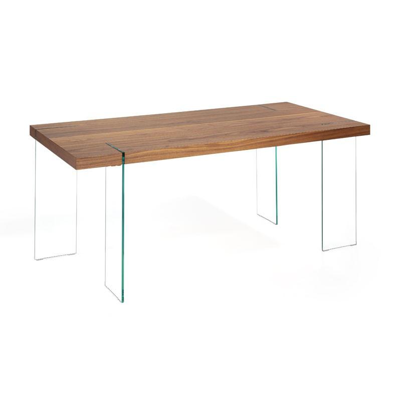 Table de repas rectangulaire design plateau bois noyer piétement Verre - Univers Salle à Manger : Tousmesmeubles
